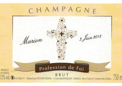 Etiquette personnalisée profession de foi Champagne