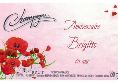Etiquette personnalisée anniversaire Champagne