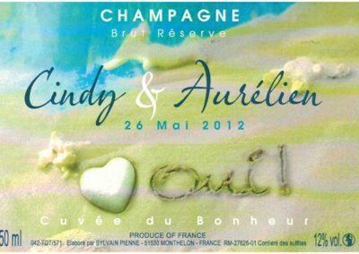 Etiquette personnalisée Champagne mariage