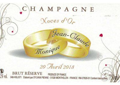 Etiquette personnalisée noces d'or Champagne