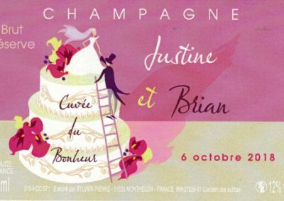 Etiquette personnalisée mariage Champagne