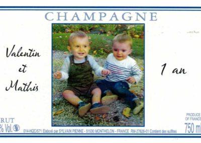 Etiquette personnalisée 1 an Champagne